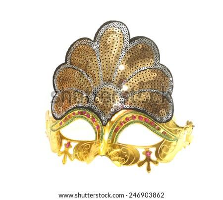 Carnival gold venetian mask isolated on white - stock photo