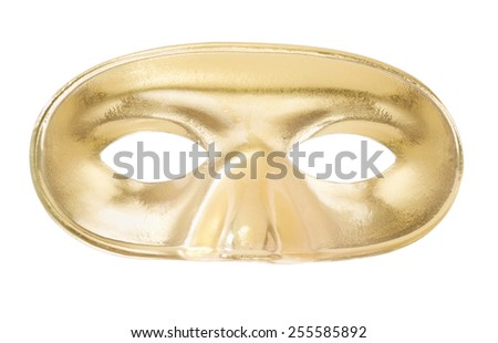 Carnival golden mask isolated on white, clipping path included - stock photo