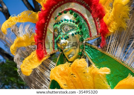 Carnival in Trinidad brings out colorful costumes - stock photo