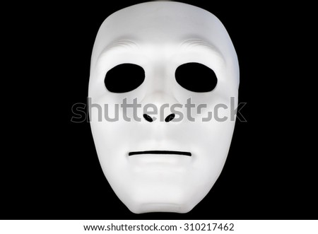 Carnival mask (A white mask on a black background) - stock photo