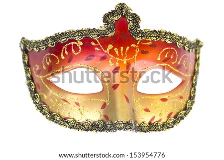 Carnival mask Christmas New year Venetian white background isolated object - stock photo