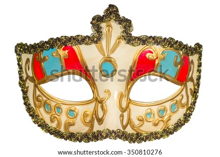 Carnival mask gold-painted curlicues decoration blue and red inserts half mask isolated white background full face - stock photo