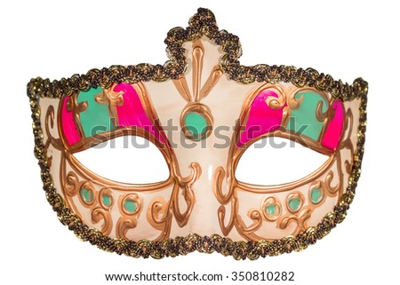 Carnival mask gold-painted curlicues decoration pink green inserts half mask isolated white background full face - stock photo