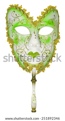 Carnival mask green Christmas New year Venetian white background isolated object - stock photo
