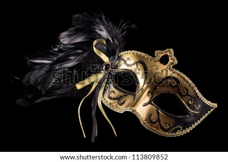 Carnival mask isolated on a black background - stock photo