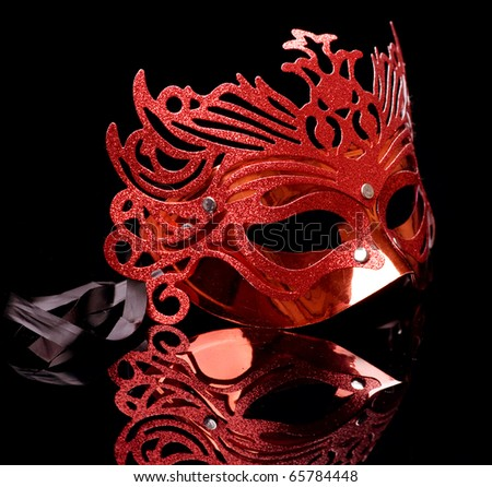Carnival Mask isolated on black - stock photo