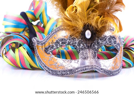 Carnival mask on White background - stock photo