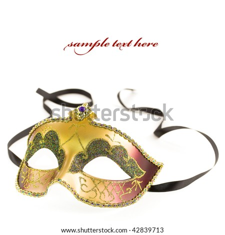 Carnival mask on white background (with sample text) - stock photo