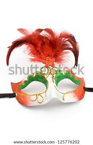 Carnival mask with feathers and diamond  isolated on white - stock photo