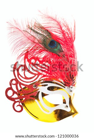 Carnival mask with feathers isolated on pure white background