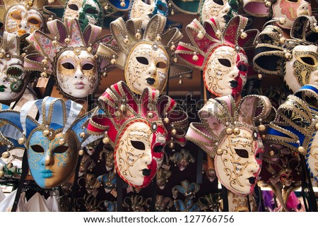 Carnival Masks in a shop window, Venice, Italy