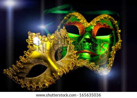 Carnival masks on a black background, Carnival masks, photography