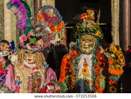 Carnival masks the annual event sustain in Venice Italy
