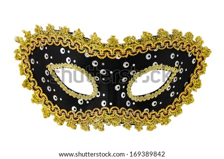 Carnival masquerade mask Christmas black gold  white background silver New year