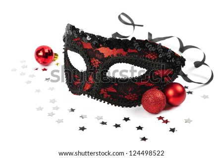 carnival red mask with silver confetti on white background - stock photo