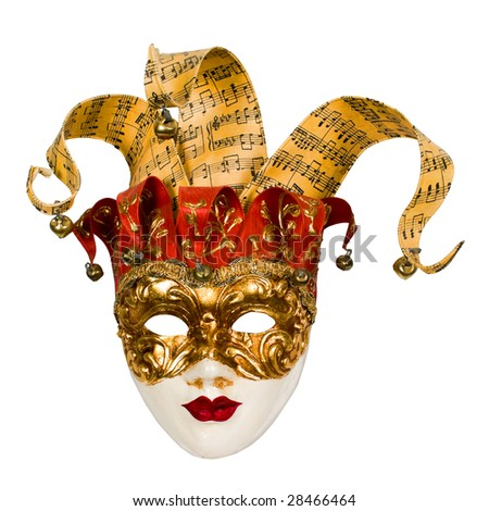 carnival venetian mask with bells isolated over white with clipping path