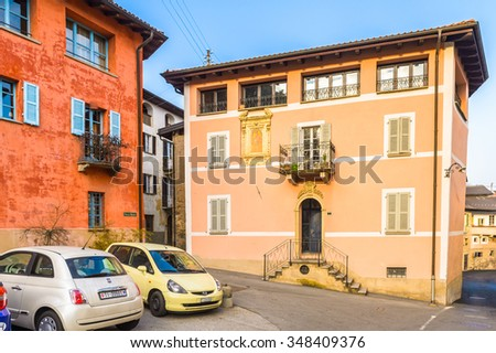 CARONA, SWITZERLAND - DEC 6, 2015: Architecture of Carona, a former municipality in the district of Lugano in the canton of Ticino in Switzerland