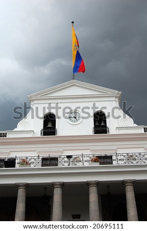 Carondelet Palace known as the Palace of the Government, is said to have been around for over 300 years. Was created as the seat of the government and home of Ecuador's president. - stock photo