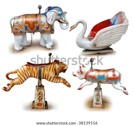 carousel animals - stock photo