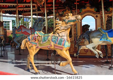 Carousel at Navy Pier in Chicago - stock photo