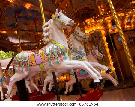 Carousel. Carnival Horses. Carousel. Horses on a carnival Merry Go Round. - stock photo