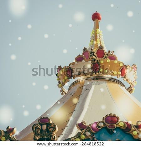 carousel carnival - vintage , snow , effect - stock photo