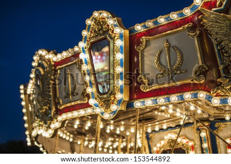 Carousel detail - colorful awning - stock photo