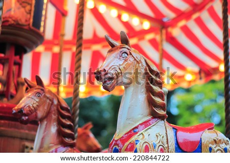 Carousel horse close up - stock photo