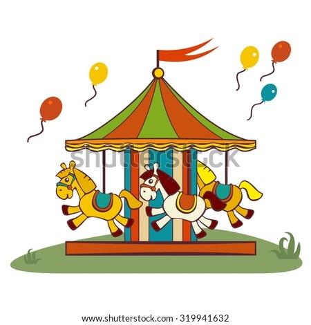 carousel horses, raster flat illustration - stock photo