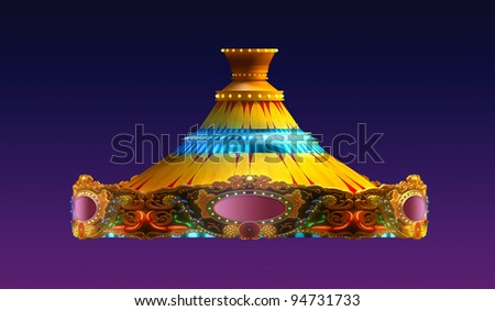 carousel merry go round  in evening view isolated on night view purple red sky background - stock photo