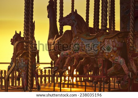 Carousel on Brighton Beach, Brighton, East Sussex, Britain - stock photo