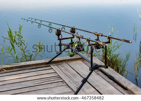 Carp fishing stock images royalty free images vectors for Fishing rod sun and moon