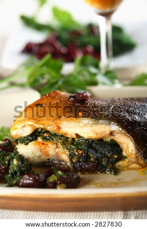 Carp with spinach