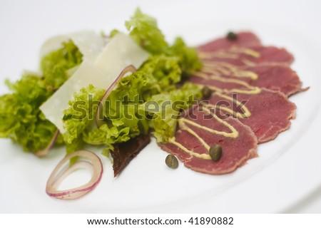 carpaccio plate whit - stock photo