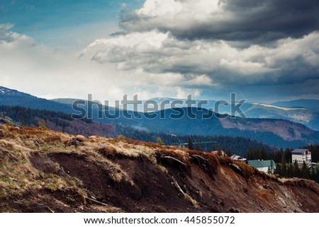 Carpathian mountains. The village in the mountains. Houses in the mountains
