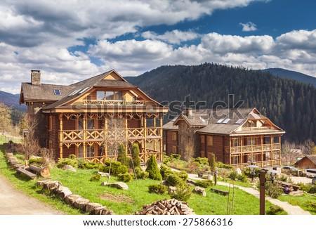 Carpathian mountains village - stock photo