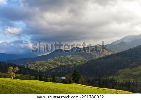 Carpathian mountains wide angle summer landscape. - stock photo