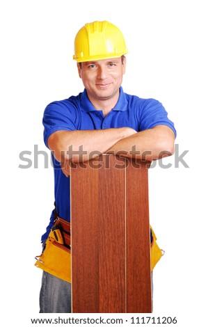 Carpenter on white background - stock photo