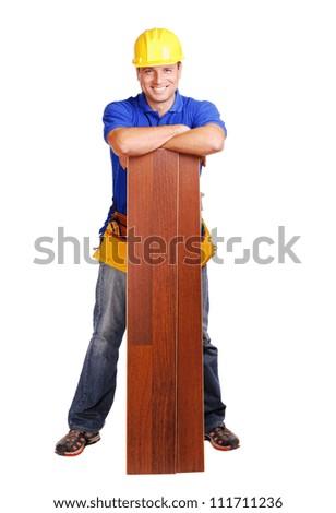 Carpenter on white background full length - stock photo
