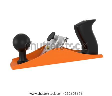 Carpenter tool wood planer isolated on white - 3d illustration - stock photo