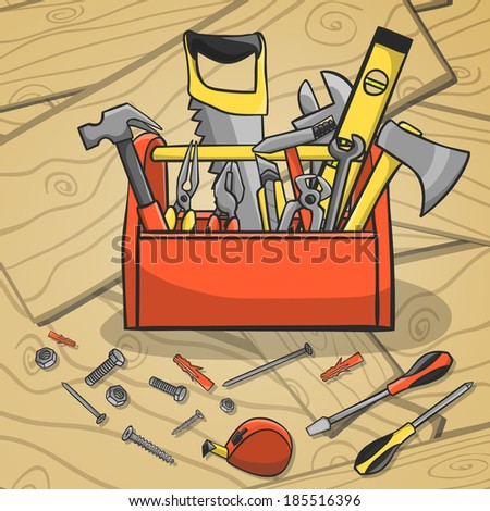 Carpenter toolbox with screwdriver hammer handsaw wrench and scattered instruments on a wooden background  illustration - stock photo