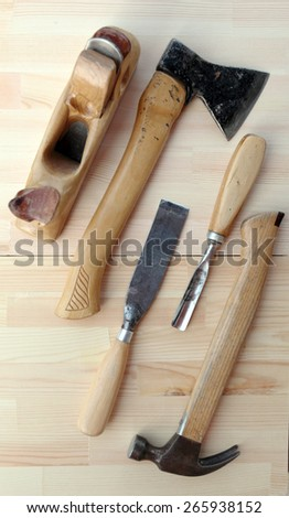 Carpenter Tools Axe, Hammer and Chisels for Woodworking - stock photo