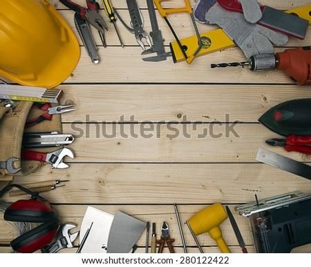 Carpenter Tools on Natural Wood