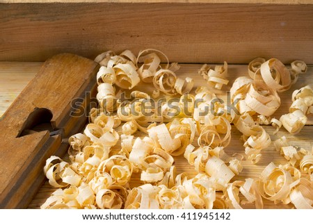 Carpenter tools on wood table background. Top view. Copy space. - stock photo
