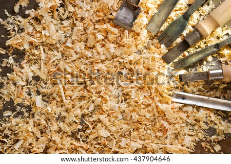 Carpenter tools on wood table background with sawdust. Copy space, - stock photo