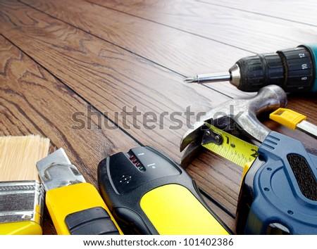 Carpenter tools. Tools ready for renovation - stock photo