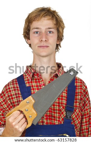 Carpenter with handsaw isolated on white background - stock photo
