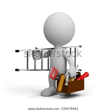 Carpenter with the tool do the work goes. 3d image. White background. - stock photo