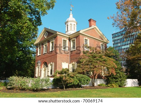 Carpenters Hall at Independence National Historical Park - stock photo