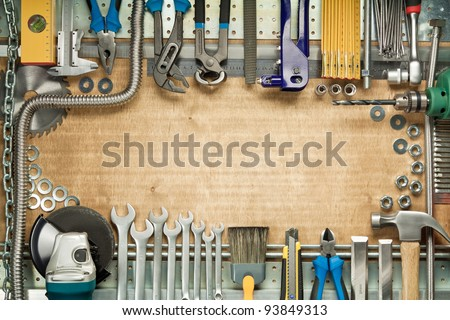 Carpentry, construction tools. Home improvement background. - stock photo